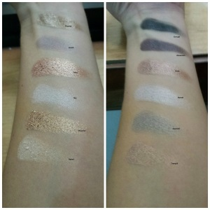 MUA swatches with names