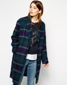 ASOS Cocoon Coat in Brushed Check