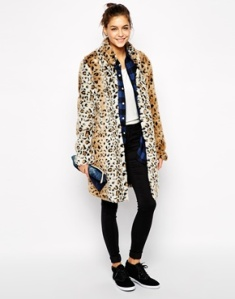 Only Faux Fur Leopard Coat