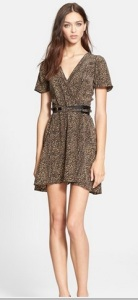Leather Belted Leopard Print Silk Dress