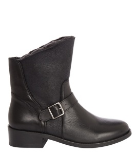 LEATHER BLEND STRAPPY BIKER BOOTS