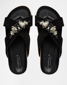 Carvela Beetle Jewel Cross Strap Slide Sandals