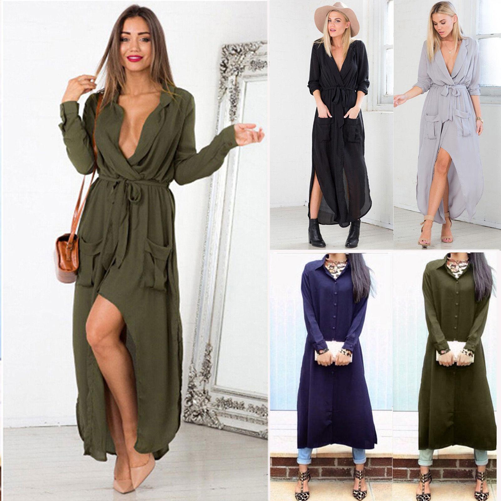 Long sleeve chiffon shirt dress - Long dress style