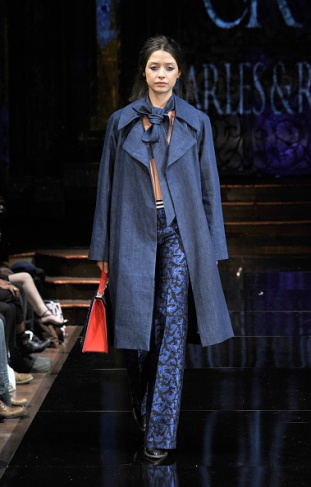 A model walks the runway during Charles and Ron at New York Fashion Week Art Hearts Fashion NYFW FW/17 at The Angel Orensanz Foundation on February 11, 2017 in New York City.