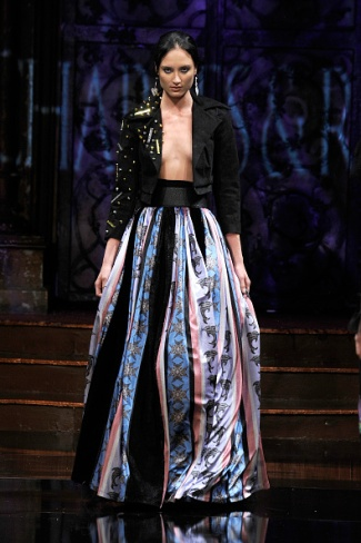 A model walks the runway during Arzamendi Style at New York Fashion Week Art Hearts Fashion NYFW FW/17 at The Angel Orensanz Foundation on February 11, 2017 in New York City.