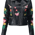 Bethany Boutique Embroidered Biker Jacket