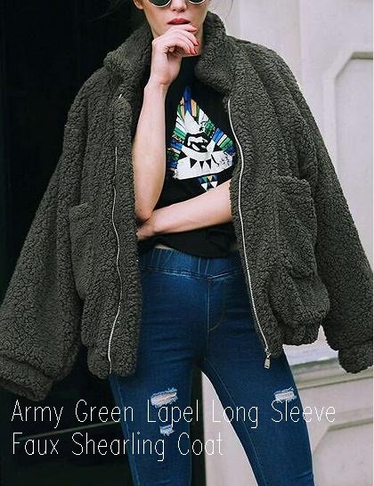 Army Green Lapel Long Sleeve Faux Shearling Coat