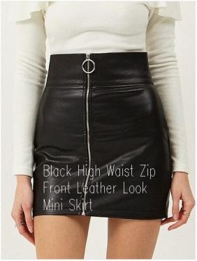 Black High Waist Zip Front Leather Look Mini Skirt