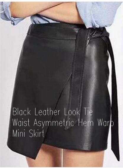 Black Leather Look Tie Waist Asymmetric Hem Warp Mini Skirt