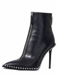 Black Studs Detail Zip Front Heeled Ankle Boots