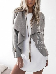 Gray Lapel Long Sleeve Open Waterfall Front Jacket