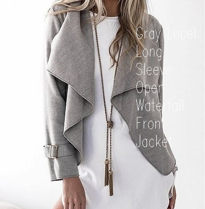 Gray Lapel Long Sleeve Open Waterfall Front Jacket