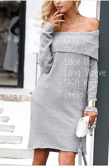 Gray Off Shoulder Lace Up Long Sleeve Shift Knit Dress