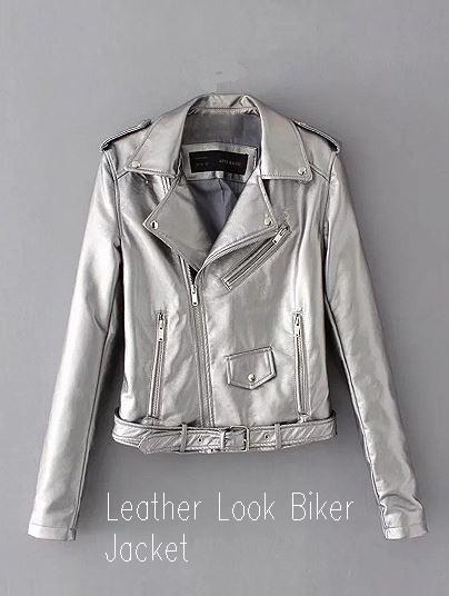 Silver Lapel Ultimate Leather Look Biker Jacket