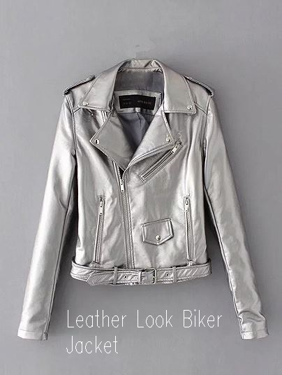 Silver Lapel Ultimate Leather Look Biker Jacket