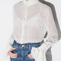White Frill High Neck Bell Cuff Dotted Semi Sheer Shirt