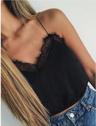 Black Spaghetti Strap V-neck Lace Panel Crop Tank Top