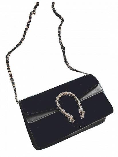 Black Velvet Cross Body Chain Shoulder Bag