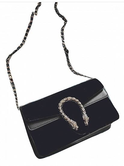 Black Velvet Cross Body Chain Shoulder Bag
