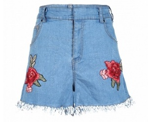 Blue Floral Embroidery Denim Shorts