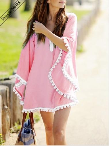 ight Pink Oversize Pom Pom Chiffon Poncho Cover Up Dress