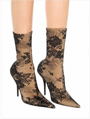 Stretch Lace Print Detail Pointed Heeled Boots