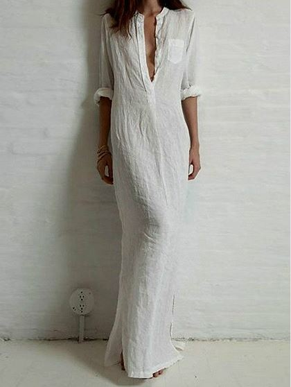 White Pocket Sleeve Maxi Shirt Dress