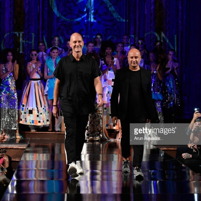 NEW YORK, NY - SEPTEMBER 08: Designers Charles van Maarschalkerweerd Borg and Ron van Maarschalkerweerd Borg the runway during the CHARLES AND RON show at New York Fashion Week Powered By Art Hearts Fashion at The Angel Orensanz Foundation on September 8, 2018 in New York City. (Photo by Arun Nevader/Getty Images for Art Hearts Fashion)