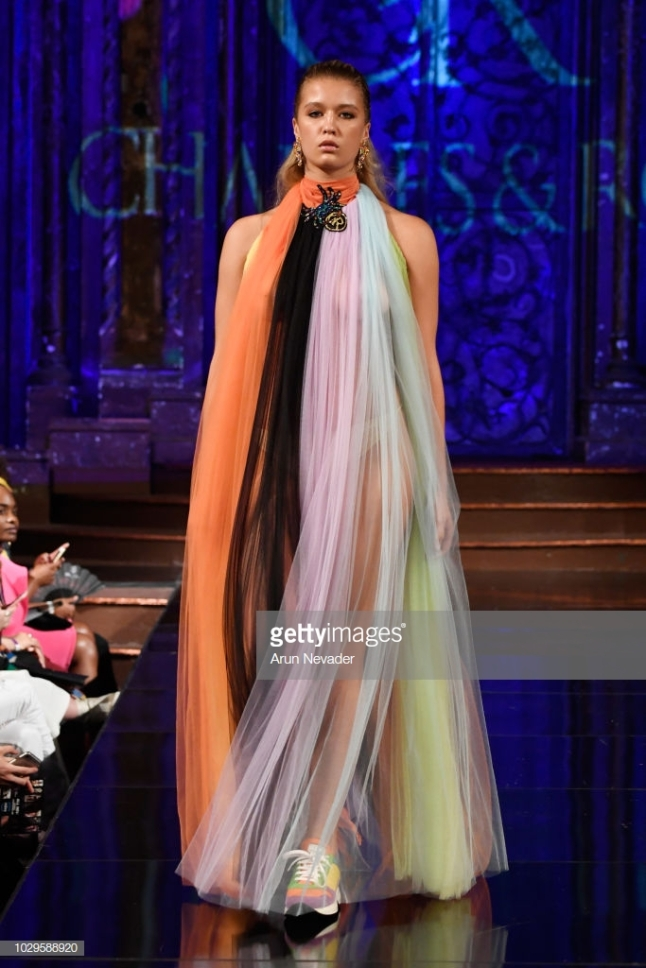 NEW YORK, NY - SEPTEMBER 08: A model walks the runway during the CHARLES AND RON show at New York Fashion Week Powered By Art Hearts Fashion at The Angel Orensanz Foundation on September 8, 2018 in New York City. (Photo by Arun Nevader/Getty Images for Art Hearts Fashion)