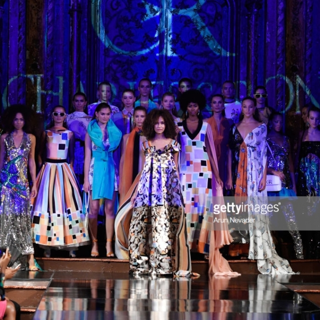 NEW YORK, NY - SEPTEMBER 08: Models walk the runway during the CHARLES AND RON show at New York Fashion Week Powered By Art Hearts Fashion at The Angel Orensanz Foundation on September 8, 2018 in New York City. (Photo by Arun Nevader/Getty Images for Art Hearts Fashion)