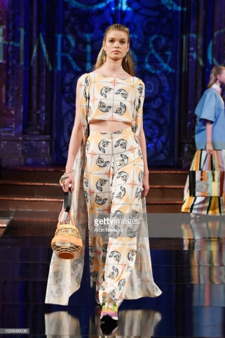 A model walks the runway during the CHARLES AND RON show at New York Fashion Week Powered By Art Hearts Fashion at The Angel Orensanz Foundation on September 8, 2018 in New York City.