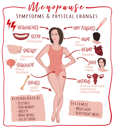 Menopause symptoms and physical changes. Vector illustration with useful facts isolated on a white background. Scientific, educational and popular-scientific concept. Vertical poster.